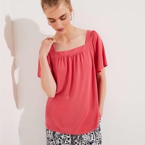 NEW Coral Loft Flowy Soft Top w/ Flutter Sleeves
